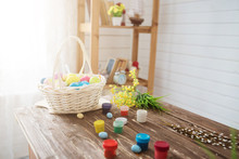Colorful Easter Eggs And Brush...