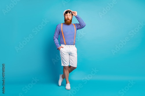 Full body photo of astonished man have summer holiday walk see incredible unbeli Canvas Print