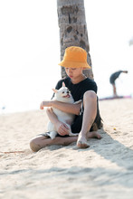 Pet Love Concept. Child Loving...