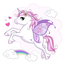 Cute Little Unicorn Character With Butterfly Wings Over Pink Cloud-shaped Background With Rainbow. Vector.