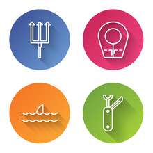 Set Line Neptune Trident, Diving Hood, Shark Fin In Ocean Wave And Swiss Army Knife. Color Circle Button. Vector