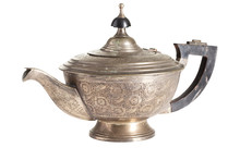 Silver Teapot Isoated On White...
