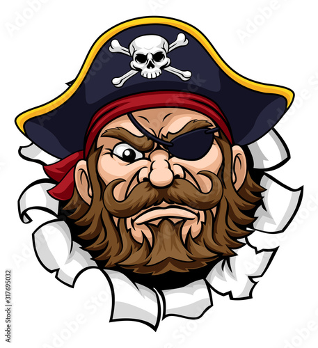 Photo A pirate cartoon character captain mascot face with skull and crossed bones on h