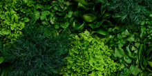 Fresh Green Lettuce Salad Mix On Light Wooden Background With Copy Space