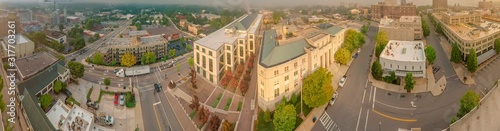 Fotografie, Obraz Panoramic high angle shot of a cityscape in Asheville, North Carolina