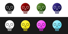 Set Skull Icon Isolated On Bla...