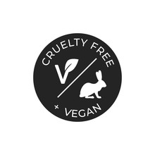 Cruelty Free And Vegan Vector Icon. Black