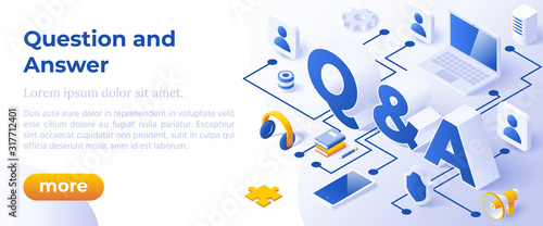 QUESTION AND ANSWER - QNA, - Isometric Design in Trendy Colors. Isometrical Iconswith letters Symbols Q and A on Blue Background. Banner Layout Template for Website and Mobile Website Development. #317712401