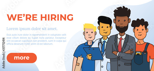 Hiring and Recruitment Design Poster. We are Hiring Text with Cartoon Characters. Vector Illustration. Open Vacancy Design Template. #317712414