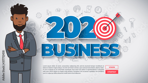 Creative Business Thinking within 2020 Year. Funny Afro American Cartoon Guy with Text, on Hand Drawn Business Background. Modern Idea Concept Vector Illustration Infographic Template. #317712458