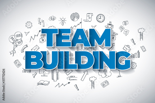 Team Building - Creative Business Concept. Hand Drawn in Red and Blue Colors Creative Text, on Hand Drawn Business Icons Background. Modern Vector Illustration or Design Template. #317712626