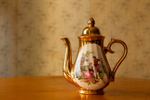 Gilded Porcelain Teapot And Tw...