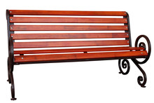 Wooden Bench With A Metal Base.