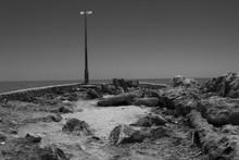Grayscale Shot Of The Salton Sea