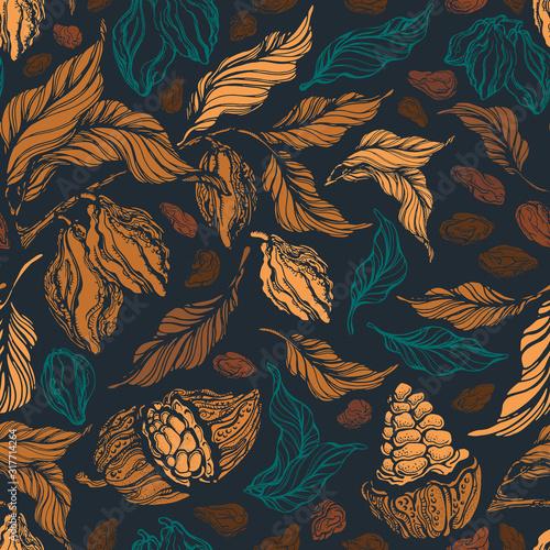 Cuadros en Lienzo Cacao seamless pattern. Vector vintage background