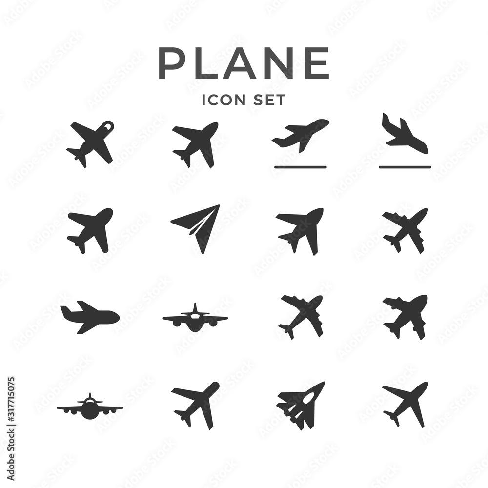 Fototapeta Set glyph icons of plane