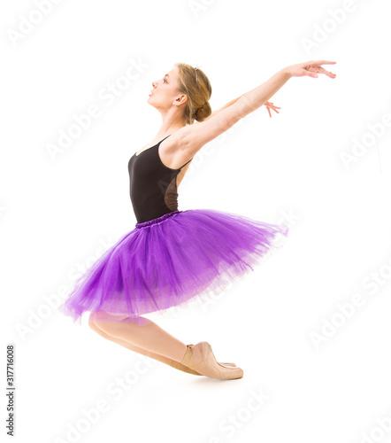 Fotografie, Obraz Girl in purple tutu and black leotard dance ballet.