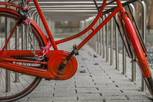 Red Bicycle Leaned And Locked ...