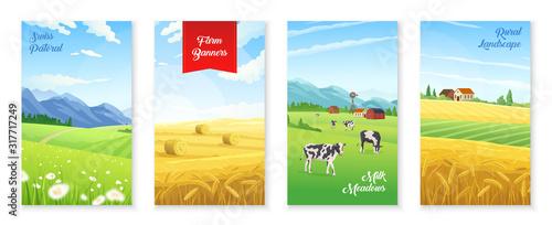 Fototapeta Farm Realistic Banners Set obraz