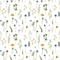 Panel Szklany Na stół i biurko Beautiful vector floral summer seamless pattern with watercolor hand drawn field wild flowers. Stock illustration.