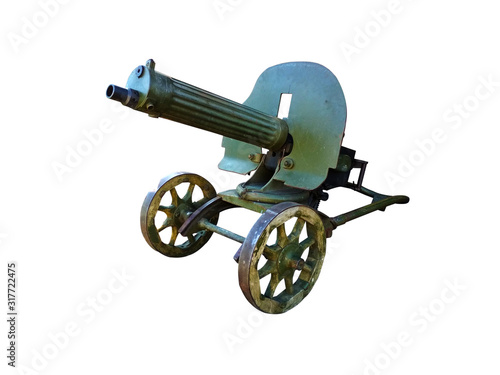 Photo Machine gun of the English isoboetatel Hiram Stevens Maxim on a white background of protective color