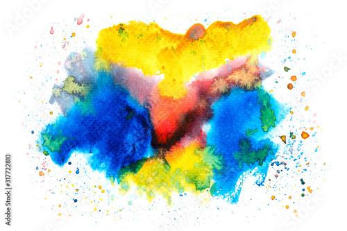 akwarela-plama-farba-obrys-bialy