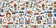 Czech Republic. Travel Illustration With Czech Landmarks, People And Food. Seamless Pattern Design