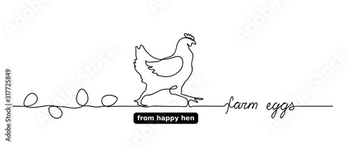 Photographie Hen or chicken vector outline,doodle with eggs