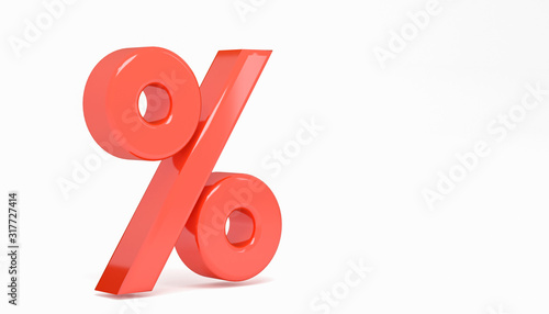 Fotografía Glossy red 3d render percent symbol isolated on white background with clipping path, alphabet discount pattern