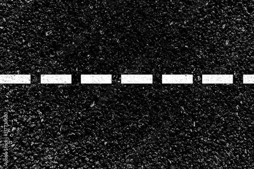 Photo Marquage bande blanche sur asphalte