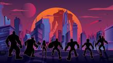 Super Team In Futuristic City
