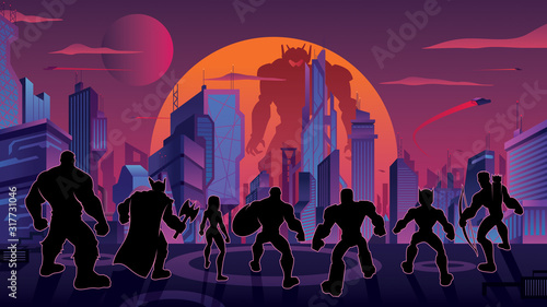 Super Team in Futuristic City Tableau sur Toile