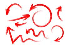 Grunge Hand Drawn Set Of Arrow...