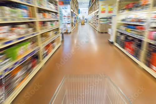 Empty supermarket aisle Canvas Print