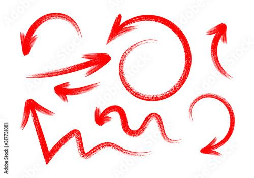 Obraz Grunge hand drawn set of arrows isolated on white - fototapety do salonu