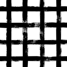Grunge Grid Seamless Pattern. Abstract Plaid Texture Hand Drawn With A Ink Brush Strokes. Vector Monochrome Background