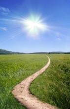 Dirt Road Path Broad Trail Swinging Sun Summer