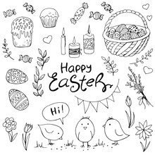 Set Of Doodle Easter Elemetns ...