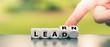 """Leinwandbild Motiv Dice form the words """"learn"""" and """"lead""""."""