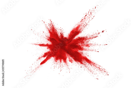 Launched red powder on white background. Wallpaper Mural
