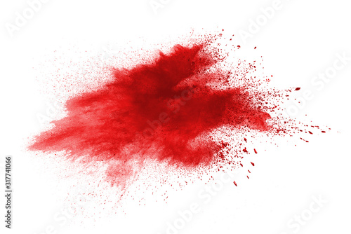 Launched red powder on white background. Fototapet