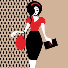Vintage Brunette Woman In Blac...