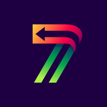 Number Seven Logo With Arrow I...