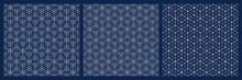 Seamless Japanese Pattern Shoji Kumiko.Diamonds Grid.White Lines On Blue Background.