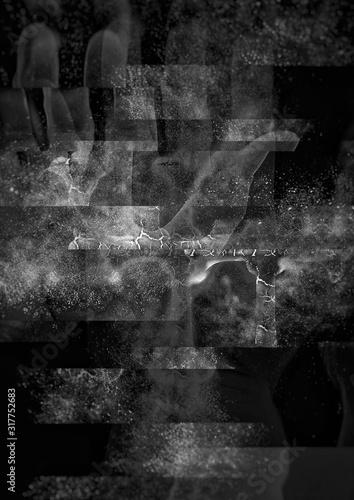 Canvastavla 暗闇に浮かぶ抽象的な十字架の背景