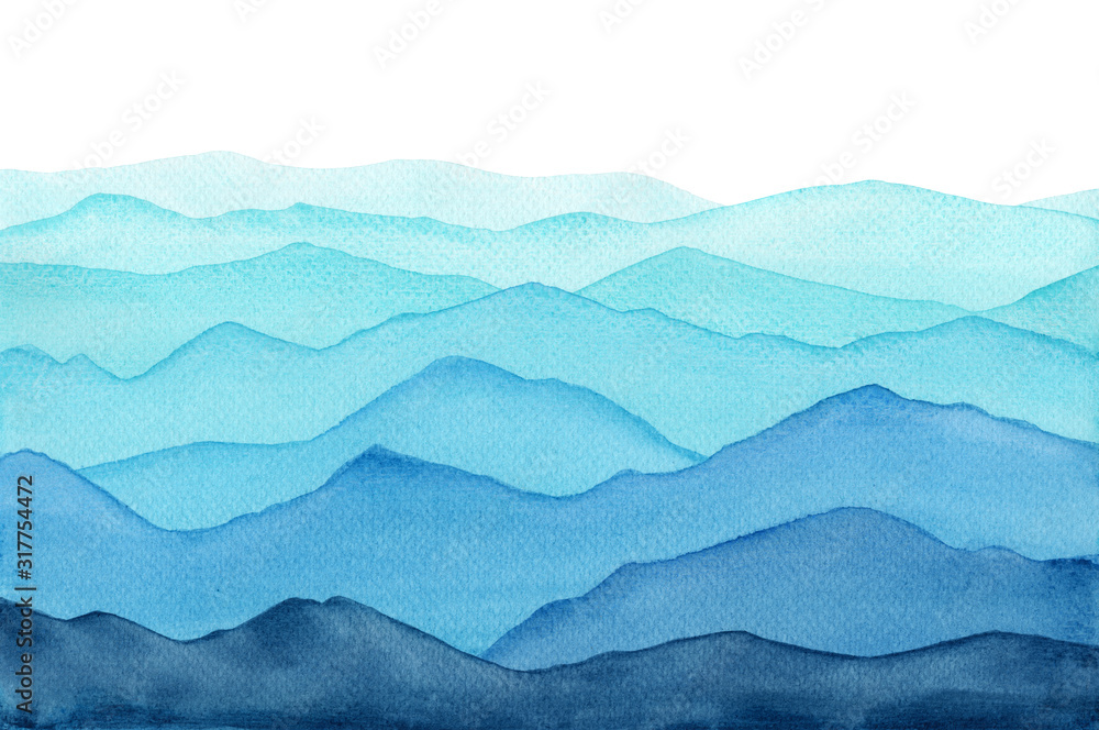 Fototapeta abstract indigo light blue watercolor waves mountains on white background