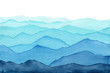 canvas print picture - abstract indigo light blue watercolor waves mountains on white background