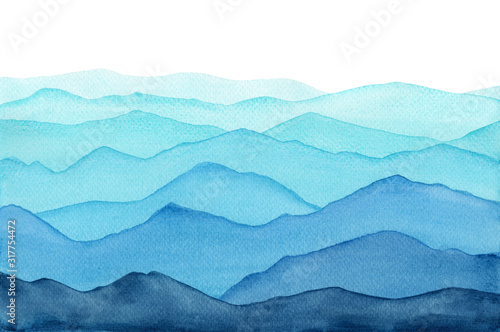 Fototapeta abstract indigo light blue watercolor waves mountains on white background obraz