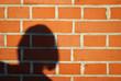 canvas print picture - Mauer aus Backsteinen mit Schatten eines Frauenkopfes