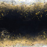 Black watercolor texture with gold. Abstract background - 317757094